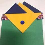 Navy Blue & Yellow Pocket Hankie With Yellow Flap & Pin